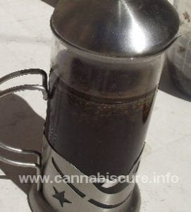 cafetiere used when making medical cannabis oil